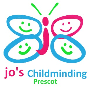 Prescot Childminding logo of a butterfly with word Jo embedded
